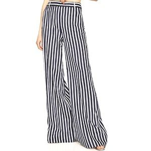 ZARA Wide Leg High Waist Stripe White Blue Sz 4